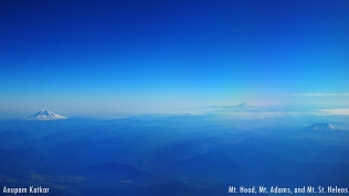Mt. Adams, Mt. Hood and Mt. St. Helens, Cascadian Range