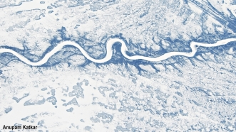 Frozen river in the Canadian tundra